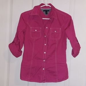 Tommy Hilfiger cute Pink button down shirt Small